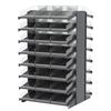 18 2-Sided Pick Rack, 48 Shelf Bins, Gray/Clear