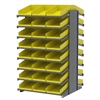 18 2-Sided Pick Rack, 48 Shelf Bins, Gray/Yellow