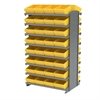 12 2-Sided Pick Rack, 64 AkroDrawers, Gray/Yellow