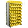 12 2-Sided Pick Rack, 20 System Bins, Gray/Yellow
