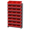 Akro-Mils 12 1-Sided Pick Rack, 24 ShelfMax, Gray/Red