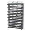 12 1-Sided Pick Rack, 24 ShelfMax, Gray/Clear