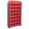 12 1-Sided Pick Rack, 32 ShelfMax, Gray/Red