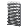 12 1-Sided Pick Rack, 32 ShelfMax, Gray/Clear