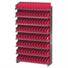 12 1-Sided Pick Rack, 96 Shelf Bins, Gray/Red