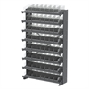 12 1-Sided Pick Rack, 72 Shelf Bins, Gray/Clear