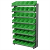 12 1-Sided Pick Rack, 48 Shelf Bins, Gray/Green