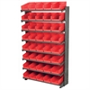 12 1-Sided Pick Rack, 48 Shelf Bins, Gray/Red