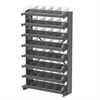 12 1-Sided Pick Rack, 48 Shelf Bins, Gray/Clear