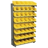 12 1-Sided Pick Rack, 48 Shelf Bins, Gray/Yellow