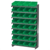 Akro-Mils 12 1-Sided Pick Rack, 32 Shelf Bins, Gray/Green