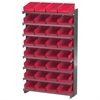 12 1-Sided Pick Rack, 32 Shelf Bins, Gray/Red