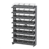 Akro-Mils 12 1-Sided Pick Rack, 32 Shelf Bins, Gray/Clear