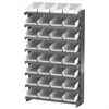 12 1-Sided Pick Rack, 32 Shelf Bins, Gray/White