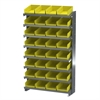12 1-Sided Pick Rack, 32 Shelf Bins, Gray/Yellow