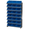 Akro-Mils 12 1-Sided Pick Rack, 24 Shelf Bins, Gray/Blue