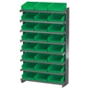 12 1-Sided Pick Rack, 24 Shelf Bins, Gray/Green