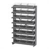 Akro-Mils 12 1-Sided Pick Rack, 24 Shelf Bins, Gray/Clear