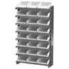 12 1-Sided Pick Rack, 24 Shelf Bins, Gray/White