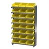 12 1-Sided Pick Rack, 24 Shelf Bins, Gray/Yellow