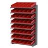 18 1-Sided Pick Rack, 48 Shelf Bins, Gray/Red