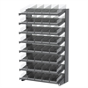 18 1-Sided Pick Rack, 48 Shelf Bins, Gray/Clear