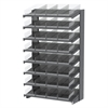 18 1-Sided Pick Rack, 36 Shelf Bins, Gray/Clear