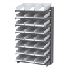 18 1-Sided Pick Rack, 24 Shelf Bins, Gray/White