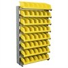 Akro-Mils 12 1-Sided Pick Rack, 10 System Bins, Gray/Yellow