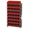 Akro-Mils 12 1-SidedPick Rack, 52 ShelfMax, Gray/Red