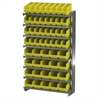 Akro-Mils 12 1-SidedPick Rack, 52 ShelfMax, Gray/Yellow