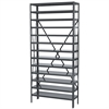 Steel Shelving Kit, 12x36x79, No Bins, Gray