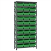 Akro-Mils Steel Shelving Kit, 12x36x79, 32 Bins, Gray/Green