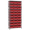 Steel Shelving Kit, 12x36x79, 32 Bins, Gray/Red