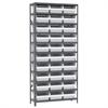 Akro-Mils Steel Shelving Kit, 12x36x79, 32 Bins, Gray/White