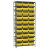 Akro-Mils Steel Shelving Kit, 12x36x79, 32 Bins, Gray/Yellow