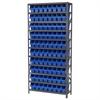 Akro-Mils Steel Shelving Kit, 12x36x79, 80 Bins, Gray/Blue