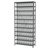 Steel Shelving Kit, 12x36x79, 80 Bins, Gray/Clear