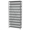 Akro-Mils Steel Shelving Kit, 12x36x79, 80 Bins, Gray/Clear