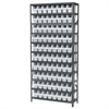 Steel Shelving Kit, 12x36x79, 80 Bins, Gray/White