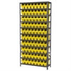 Akro-Mils Steel Shelving Kit, 12x36x79, 80 Bins, Gray/Yellow