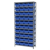 Steel Shelving Kit, 12x36x79, 40 Bins, Gray/Blue