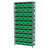 Steel Shelving Kit, 12x36x79, 40 Bins, Gray/Green