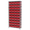 Steel Shelving Kit, 12x36x79, 40 Bins, Gray/Red