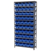 Akro-Mils Steel Shelving Kit, 12x36x79, 50 Bins, Gray/Blue