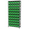 Steel Shelving Kit, 12x36x79, 50 Bins, Gray/Green