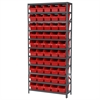 Akro-Mils Steel Shelving Kit, 12x36x79, 50 Bins, Gray/Red