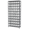 Akro-Mils Steel Shelving Kit, 12x36x79, 50 Bins, Gray/Clear