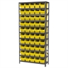 Steel Shelving Kit, 12x36x79, 50 Bins, Gray/Yellow