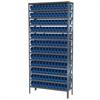 Steel Shelving Kit, 12x36x79, 144 Bins, Gray/Blue